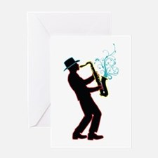 Saxophone Player Greeting Card
