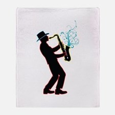 Saxophone Player Throw Blanket