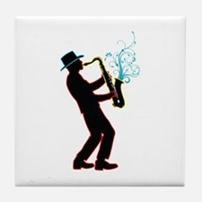Saxophone Player Tile Coaster