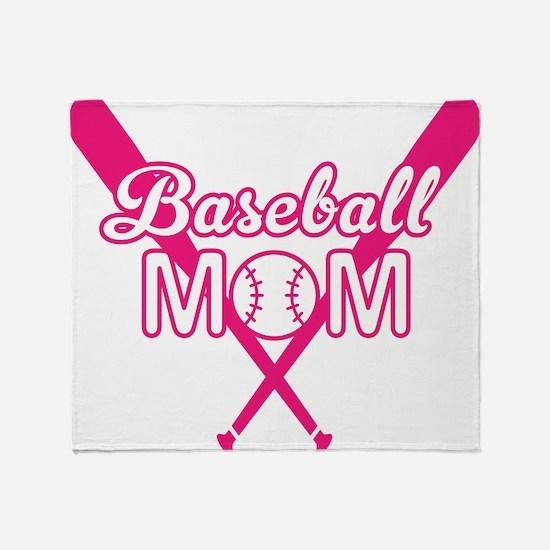 Cute Pink baseball Mom Throw Blanket