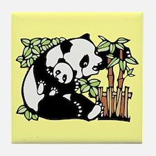Panda and Panda Cub Tile Coaster