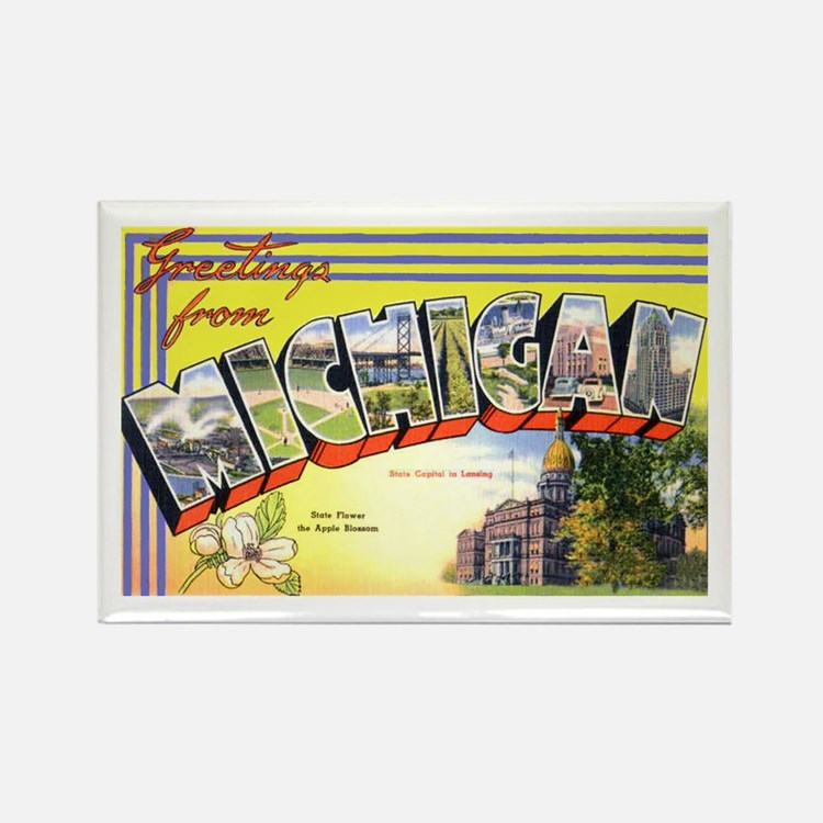 Michigan Greetings Rectangle Magnet