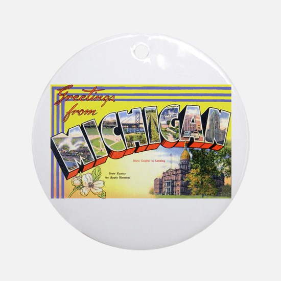 Michigan Greetings Ornament (Round)