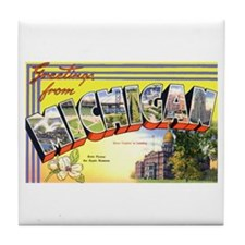 Michigan Greetings Tile Coaster