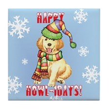 Holiday Golden Retriever Tile Coaster
