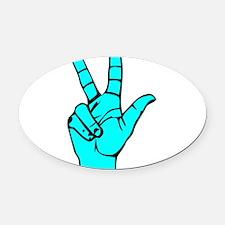 Sign Language 3 e1 Oval Car Magnet
