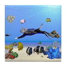 Scuba Diving Devons Tile Coaster