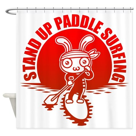 stand up paddle surfing shower curtain by cacats