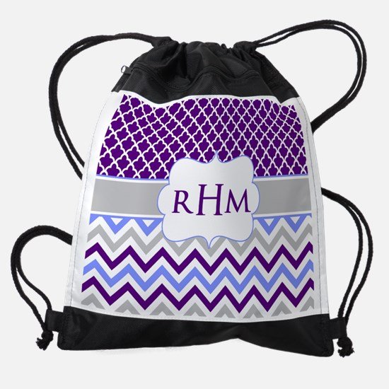 Purple Quatrefoil Chevron Monogram Drawstring Bag