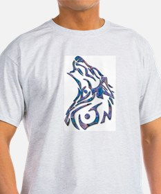 Tribal Wolf Art 9 Ash Grey T-Shirt