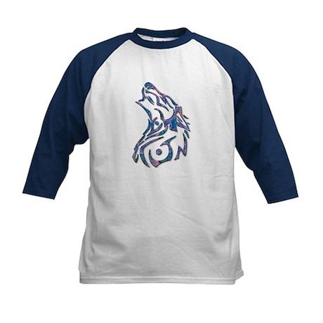 Tribal Wolf Art 9 Kids Baseball Jersey