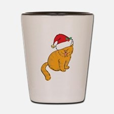Cute ginger cat with Santa Hat Shot Glass