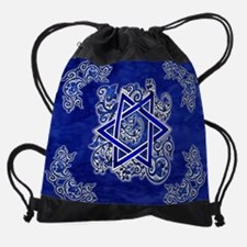 Denim Star of David Drawstring Bag