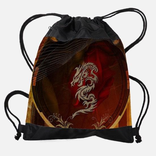 Awesome dragon, tribal design Drawstring Bag