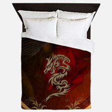 Awesome dragon, tribal design Queen Duvet