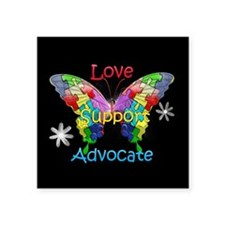 "Autism Awareness Butterfly Square Sticker 3"" x 3"""