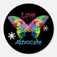 Autism Awareness Butterfly Round Car Magnet