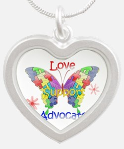 Autism Awareness Butterfly Silver Heart Necklace