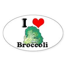 I Heart (Love) Broccoli Oval Decal