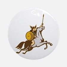 Valkyrie Riding Horse Retro Ornament (Round)