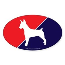 US Flag Rat Terrier Oval Decal