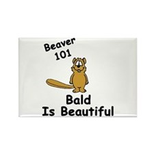 """Beaver 101 Bald Is Beautiful"" Rectangle Magnet"