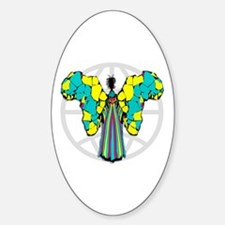 African Butterfly Oval Decal