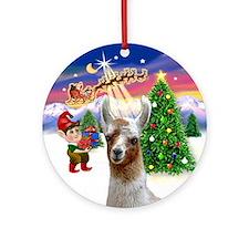 Santa's Take OFf & Llama Ornament (Round)