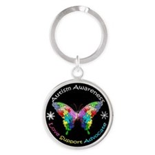 Autism Awareness Butterfly Round Keychain
