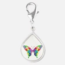 Autism Awareness Butterfly Silver Teardrop Charm