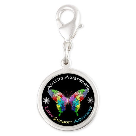 Autism Awareness Butterfly Silver Round Charm