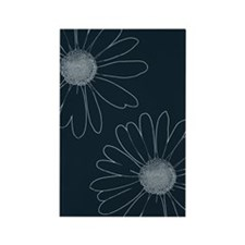 Blue and White Daisies Rectangle Magnet