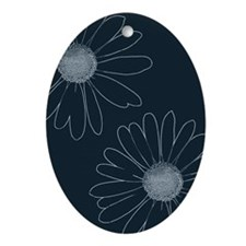 Blue and White Daisies Ornament (Oval)