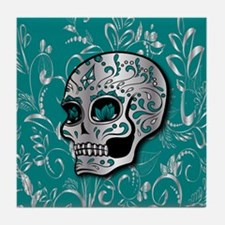 Whimsical silver and teal sugar skull Tile Coaster