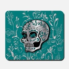 Whimsical silver and teal sugar skull Mousepad