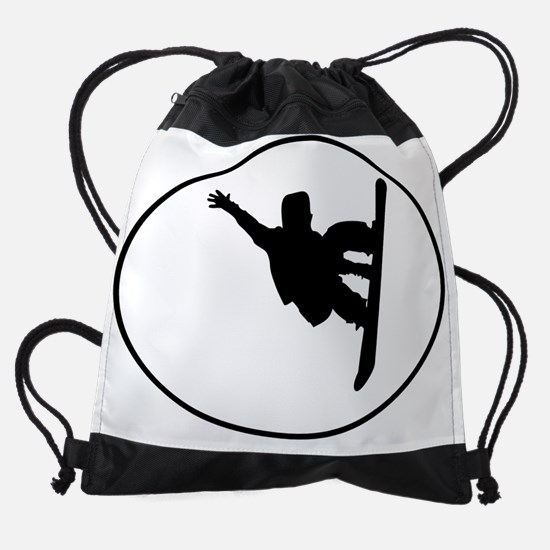 Snowboarder Oval Drawstring Bag