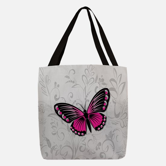 Whimsical Pink Butterfly on gra Polyester Tote Bag
