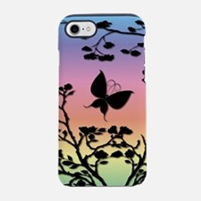 Butterfly on rainbow Gradient iPhone 7 Tough Case