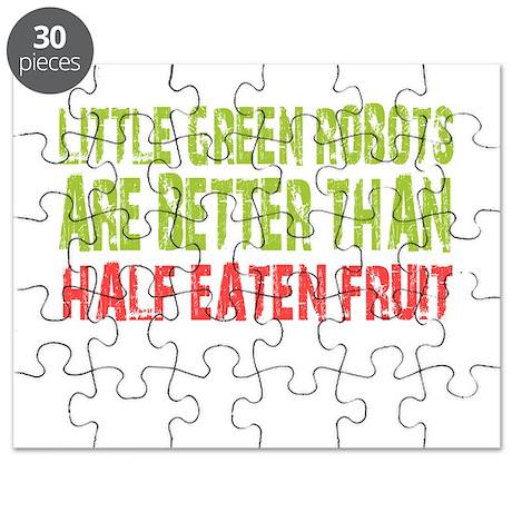 Little green robots better than half eaten fruit P
