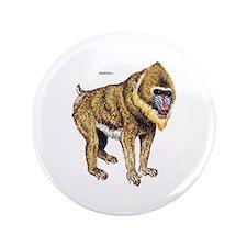 "Mandrill Monkey Ape 3.5"" Button"