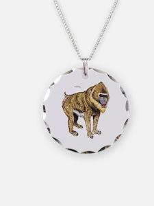 Mandrill Monkey Ape Necklace Circle Charm
