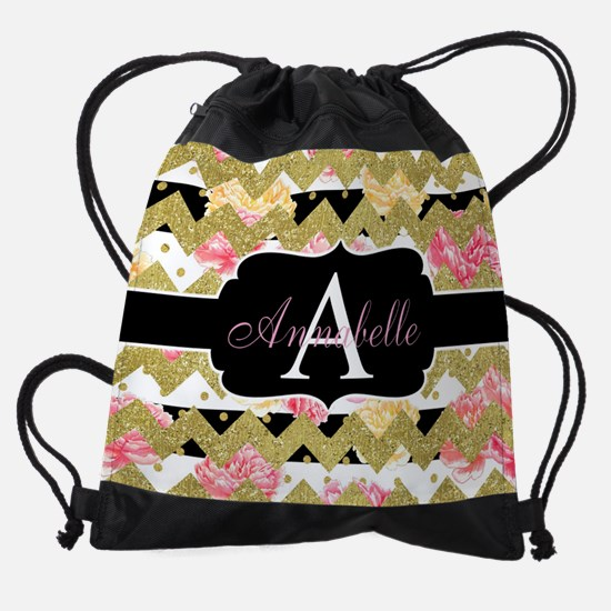 Chic Gold Chevron Monogram Drawstring Bag
