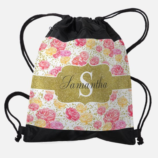 Shabby Chic Floral Monogram Drawstring Bag