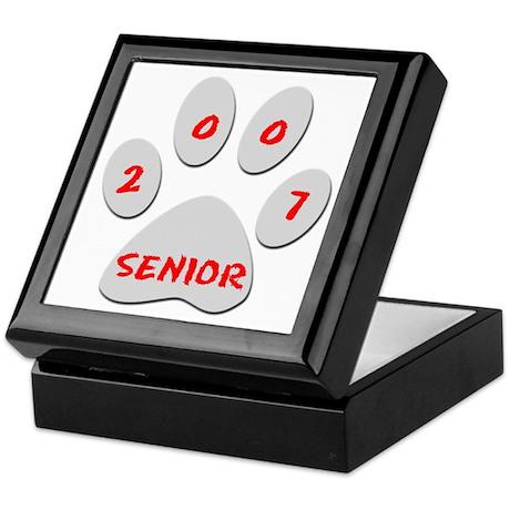 Gray Paw Print Senior 07 Keepsake Box