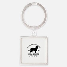 Briard Mommy Square Keychain