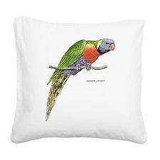 Rainbow Lorikeet Bird Square Canvas Pillow