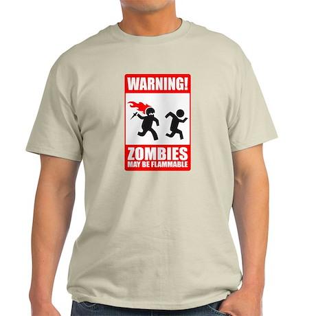 Warning: Zombies may be flamm Ash Grey T-Shirt