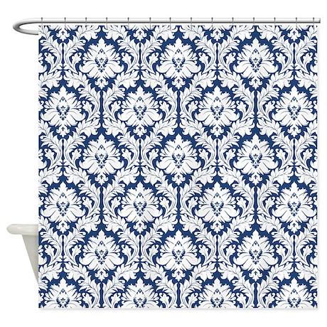 Dark Blue Damask Shower Curtain By Zandiepants