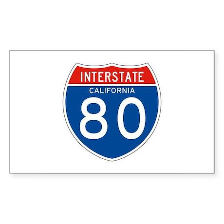 Interstate 80 - CA Rectangle Sticker