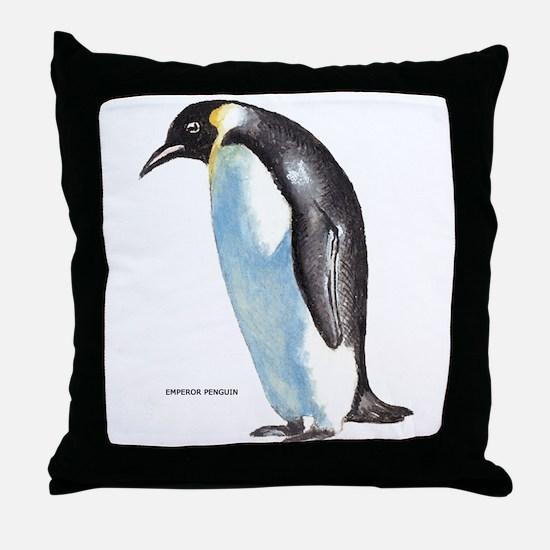 Emperor Penguin Bird Throw Pillow